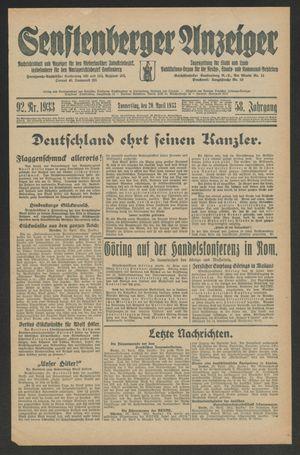 Senftenberger Anzeiger vom 20.04.1933