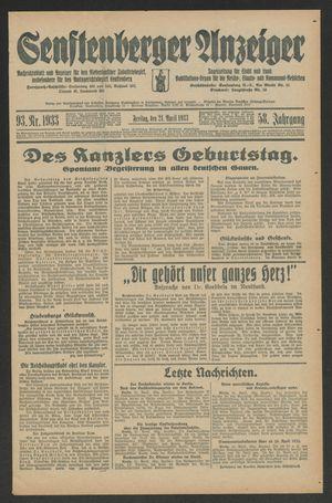 Senftenberger Anzeiger vom 21.04.1933