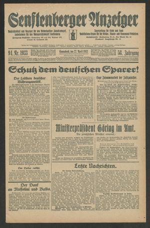 Senftenberger Anzeiger on Apr 22, 1933