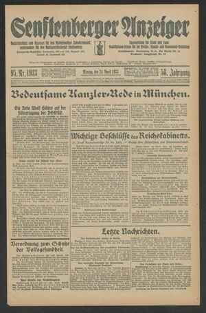 Senftenberger Anzeiger vom 24.04.1933