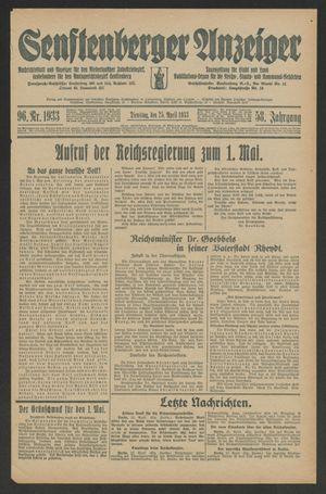 Senftenberger Anzeiger vom 25.04.1933
