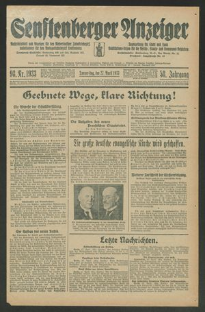 Senftenberger Anzeiger vom 27.04.1933