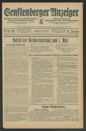 Senftenberger Anzeiger vom 28.04.1933