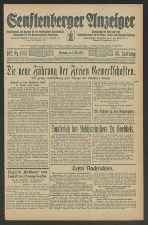 Senftenberger Anzeiger vom 03.05.1933