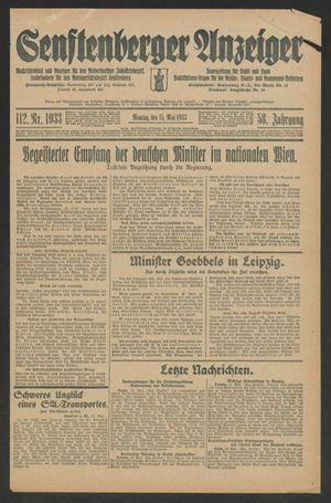 Senftenberger Anzeiger vom 15.05.1933