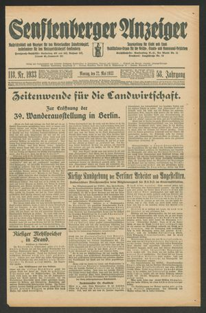 Senftenberger Anzeiger vom 22.05.1933