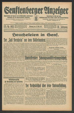 Senftenberger Anzeiger vom 31.05.1933