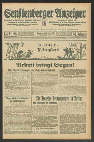 Senftenberger Anzeiger vom 03.06.1933