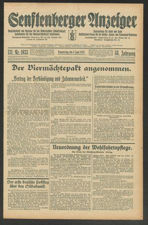 Senftenberger Anzeiger vom 08.06.1933