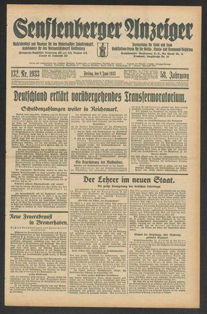 Senftenberger Anzeiger vom 09.06.1933