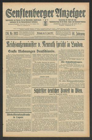 Senftenberger Anzeiger vom 14.06.1933