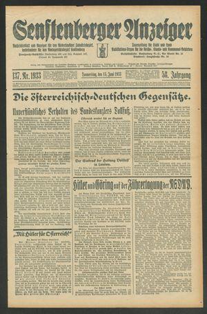 Senftenberger Anzeiger vom 15.06.1933