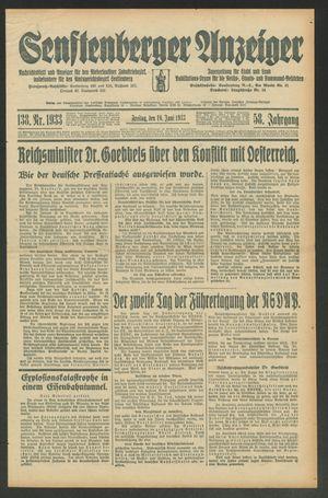 Senftenberger Anzeiger vom 16.06.1933