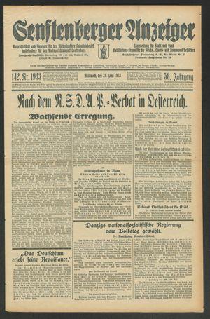 Senftenberger Anzeiger vom 21.06.1933