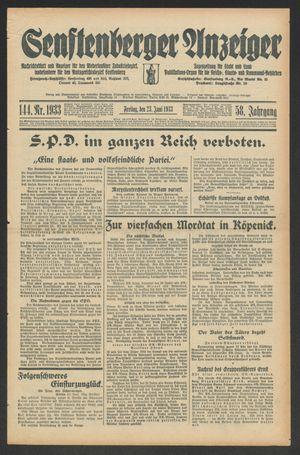 Senftenberger Anzeiger vom 23.06.1933