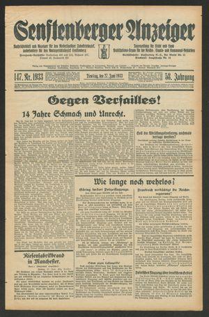 Senftenberger Anzeiger vom 27.06.1933