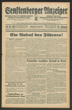 Senftenberger Anzeiger vom 28.06.1933