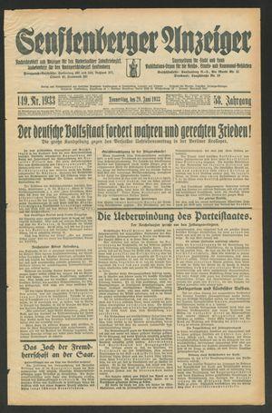 Senftenberger Anzeiger vom 29.06.1933