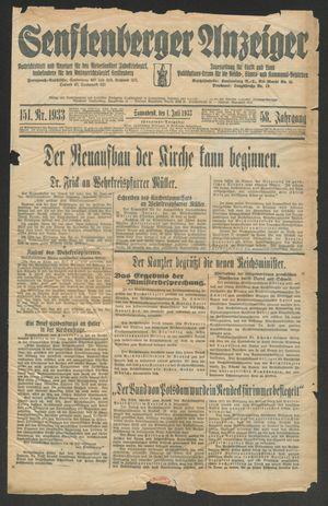 Senftenberger Anzeiger vom 01.07.1933