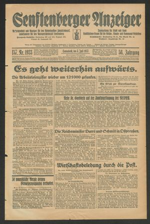 Senftenberger Anzeiger vom 08.07.1933