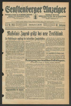 Senftenberger Anzeiger vom 27.07.1933