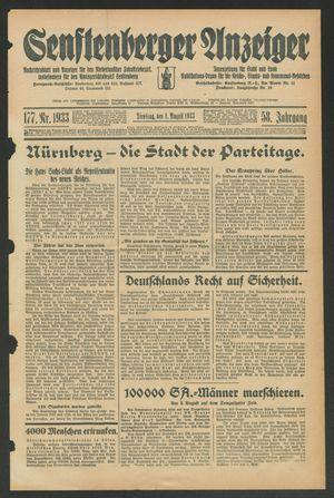 Senftenberger Anzeiger vom 01.08.1933