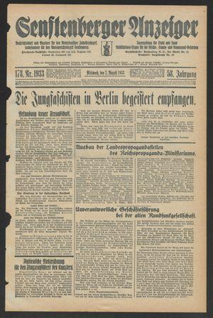 Senftenberger Anzeiger vom 02.08.1933