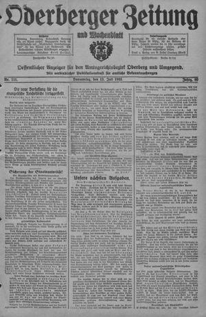 Oderberger Zeitung und Wochenblatt vom 13.07.1933