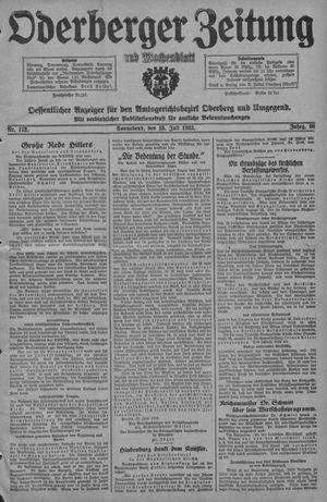 Oderberger Zeitung und Wochenblatt vom 15.07.1933