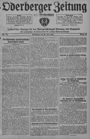 Oderberger Zeitung und Wochenblatt vom 22.07.1933