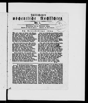 Züllichauer wöchentliche Nachrichten vom 05.01.1834