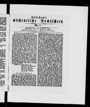 Züllichauer wöchentliche Nachrichten vom 16.02.1834