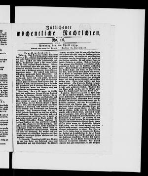 Züllichauer wöchentliche Nachrichten vom 20.04.1834