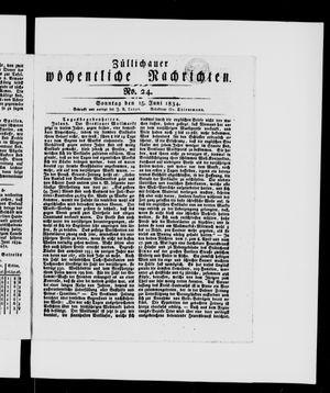 Züllichauer wöchentliche Nachrichten vom 15.06.1834