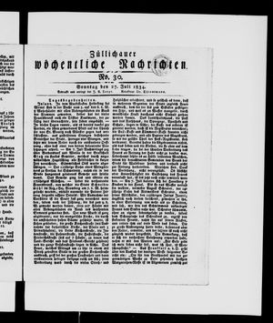 Züllichauer wöchentliche Nachrichten vom 27.07.1834
