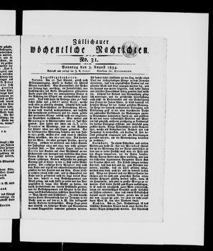 Züllichauer wöchentliche Nachrichten vom 03.08.1834