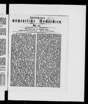 Züllichauer wöchentliche Nachrichten vom 10.08.1834