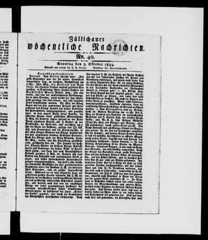 Züllichauer wöchentliche Nachrichten vom 05.10.1834