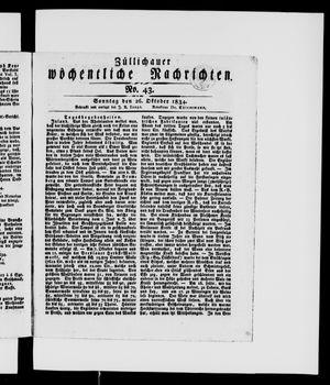 Züllichauer wöchentliche Nachrichten vom 26.10.1834