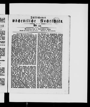 Züllichauer wöchentliche Nachrichten vom 02.11.1834