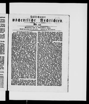 Züllichauer wöchentliche Nachrichten vom 09.11.1834