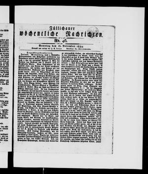 Züllichauer wöchentliche Nachrichten vom 16.11.1834