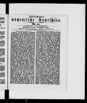 Züllichauer wöchentliche Nachrichten vom 30.11.1834