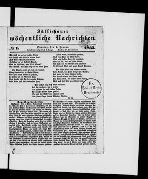 Züllichauer wöchentliche Nachrichten vom 01.01.1837