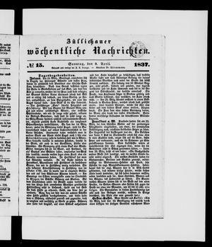 Züllichauer wöchentliche Nachrichten vom 09.04.1837