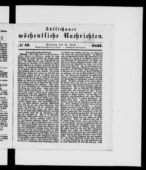Züllichauer wöchentliche Nachrichten vom 23.04.1837
