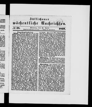 Züllichauer wöchentliche Nachrichten vom 30.04.1837