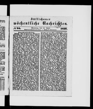 Züllichauer wöchentliche Nachrichten vom 11.06.1837
