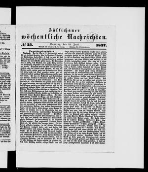 Züllichauer wöchentliche Nachrichten vom 18.06.1837
