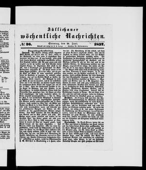 Züllichauer wöchentliche Nachrichten vom 25.06.1837